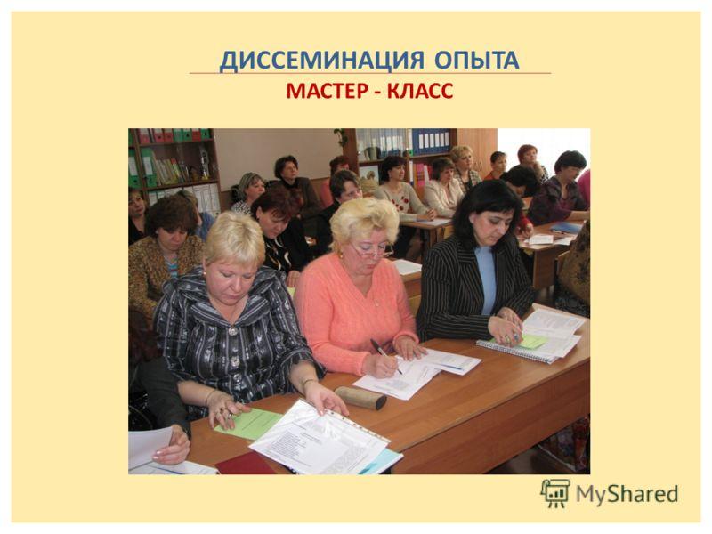 ДИССЕМИНАЦИЯ ОПЫТА МАСТЕР - КЛАСС