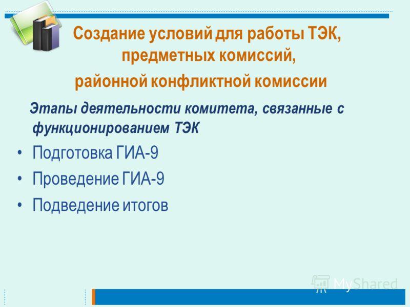 Создание условий для работы ТЭК, предметных комиссий, районной конфликтной комиссии Этапы деятельности комитета, связанные с функционированием ТЭК Подготовка ГИА-9 Проведение ГИА-9 Подведение итогов