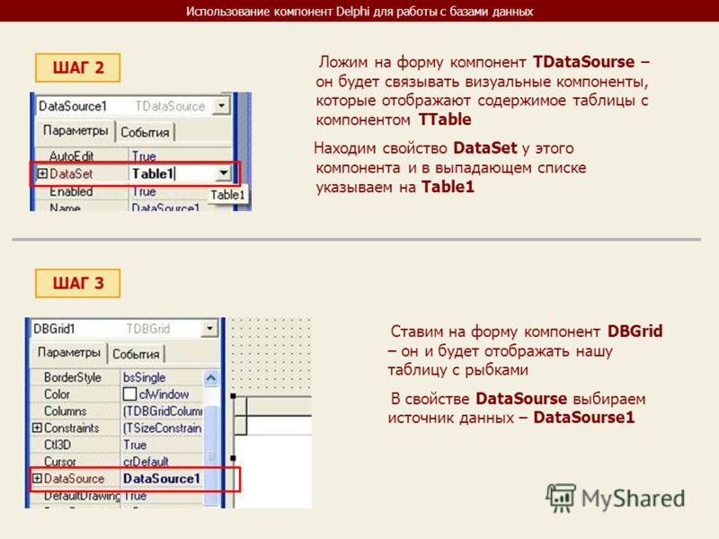 Использование компонент Delphi для работы с базами данных ШАГ 2 Ложим на форму компонент TDataSourse – он будет связывать визуальные компоненты, которые отображают содержимое таблицы с компонентом TTable Находим свойство DataSet у этого компонента и