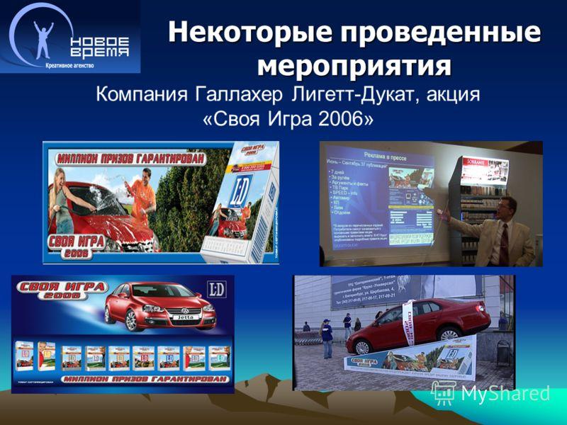 Некоторые проведенные мероприятия Компания Галлахер Лигетт-Дукат, акция «Своя Игра 2006»