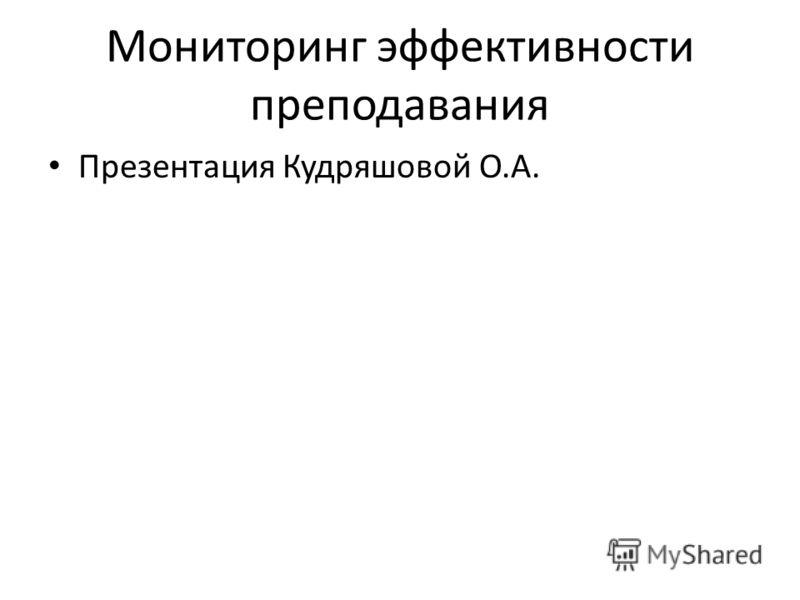 Мониторинг эффективности преподавания Презентация Кудряшовой О.А.