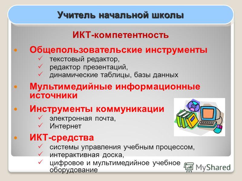 6 Учитель начальной школы ИКТ-компетентность Общепользовательские инструменты текстовый редактор, редактор презентаций, динамические таблицы, базы данных Мультимедийные информационные источники Инструменты коммуникации электронная почта, Интернет ИКТ