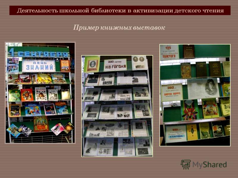Деятельность школьной библиотеки в активизации детского чтения Пример книжных выставок