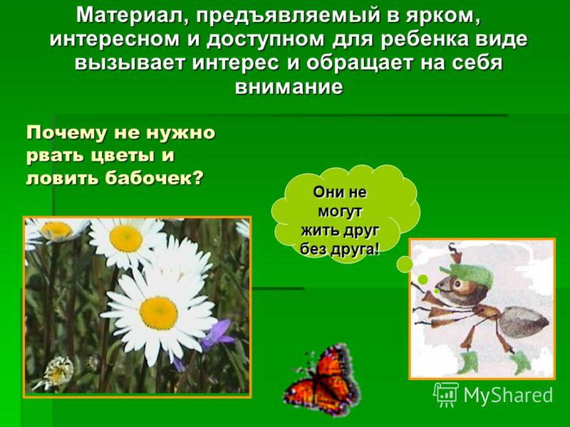 Почему не нужно рвать цветы и ловить бабочек? Материал, предъявляемый в ярком, интересном и доступном для ребенка виде вызывает интерес и обращает на себя внимание Они не могут жить друг без друга!