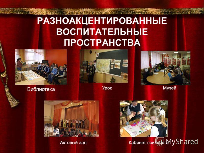 РАЗНОАКЦЕНТИРОВАННЫЕ ВОСПИТАТЕЛЬНЫЕ ПРОСТРАНСТВА Библиотека УрокМузей Актовый залКабинет психолога