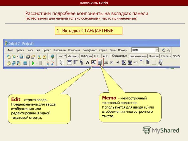 Компоненты Delphi Рассмотрим подробнее компоненты на вкладках панели (естественно для начала только основные и часто применяемые) 1. Вкладка СТАНДАРТНЫЕ Edit - строка ввода. Предназначена для ввода, отображения или редактирования одной текстовой стро