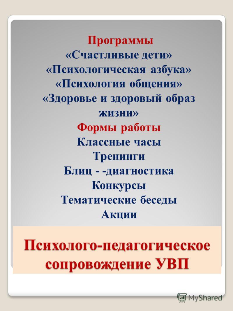 Психолого-педагогическое сопровождение УВП Программы «Счастливые дети» «Психологическая азбука» «Психология общения» «Здоровье и <a href='http://www.m