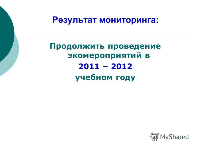 Результат мониторинга: Продолжить проведение экомероприятий в 2011 – 2012 учебном году