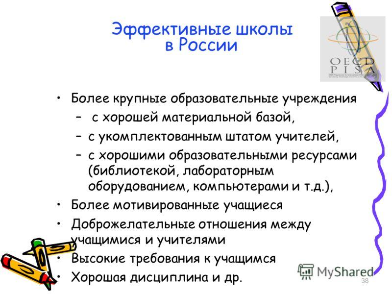 Эффективные школы в России Более крупные образовательные учреждения – с хорошей материальной базой, –c укомплектованным штатом учителей, –c хорошими образовательными ресурсами (библиотекой, лабораторным оборудованием, компьютерами и т.д.), Более моти