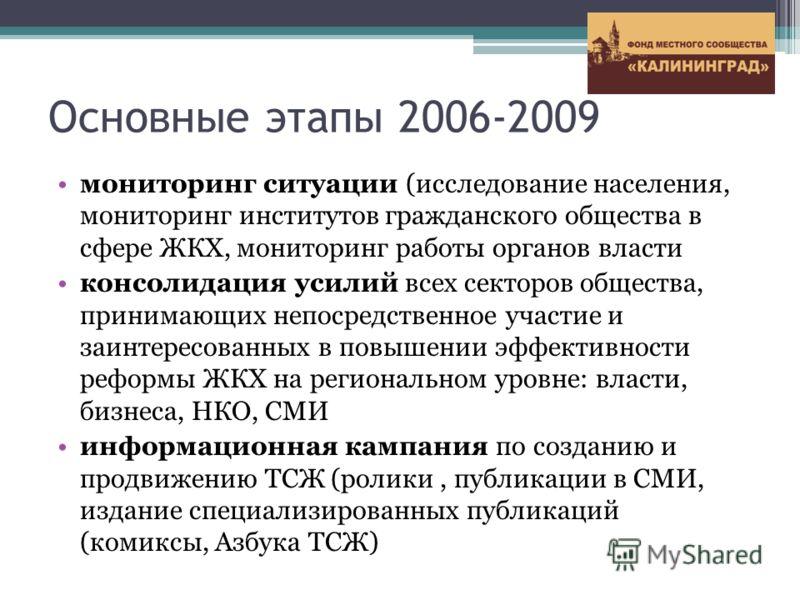 Основные этапы 2006-2009 мониторинг ситуации (исследование населения, мониторинг институтов гражданского общества в сфере ЖКХ, мониторинг работы органов власти консолидация усилий всех секторов общества, принимающих непосредственное участие и заинтер