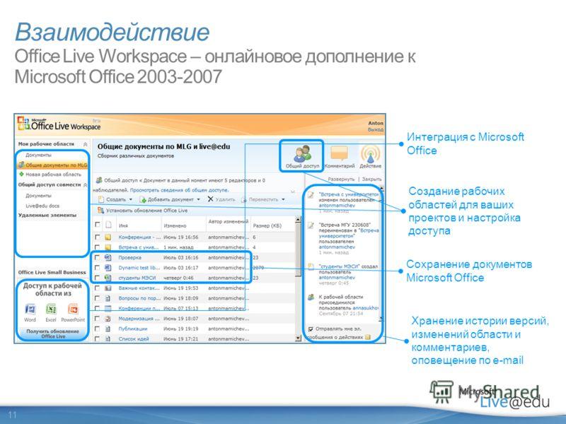 11 Взаимодействие Office Live Workspace – онлайновое дополнение к Microsoft Office 2003-2007 Создание рабочих областей для ваших проектов и настройка доступа Интеграция с Microsoft Office Сохранение документов Microsoft Office Хранение истории версий