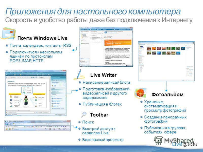 15 Почта Windows Live Почта, календарь, контакты, RSS Подключиться к нескольким ящикам по протоколам POP3,IMAP, HTTP Фотоальбом Хранение, систематизация и просмотр фотографий Создание панорамных фотографий Публикация в группах, событиях, сфере Live W