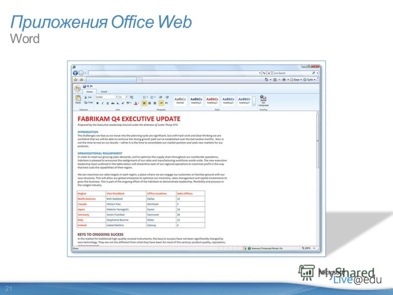 21 Приложения Office Web Word