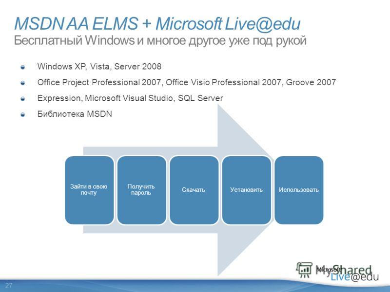 27 Windows XP, Vista, Server 2008 Office Project Professional 2007, Office Visio Professional 2007, Groove 2007 Expression, Microsoft Visual Studio, SQL Server Библиотека MSDN Зайти в свою почту Получить пароль СкачатьУстановитьИспользовать MSDN AA E