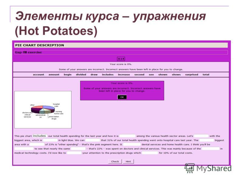 Элементы курса – упражнения (Hot Potatoes)