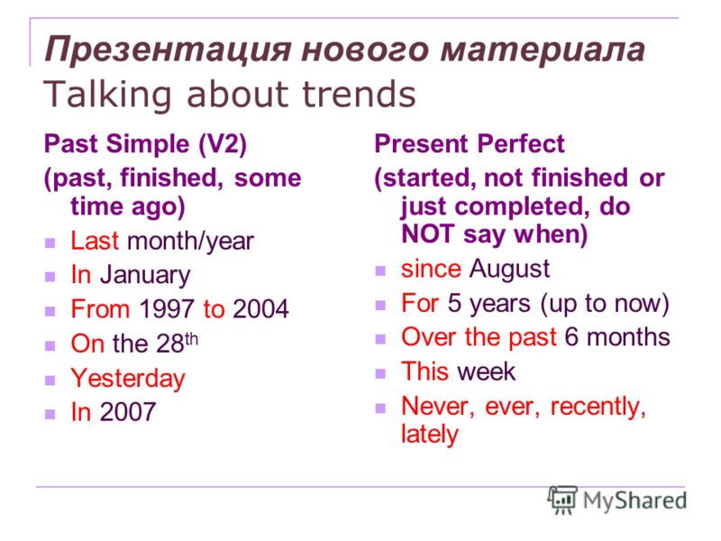 Презентация нового материала Talking about trends Past Simple (V2) (past, finished, some time ago) Last month/year In January From 1997 to 2004 On the 28 th Yesterday In 2007 Present Perfect (started, not finished or just completed, do NOT say when)