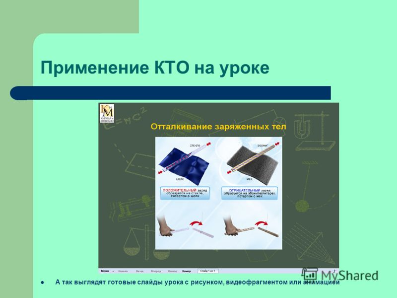 Применение КТО на уроке А так выглядят готовые слайды урока с рисунком, видеофрагментом или анимацией