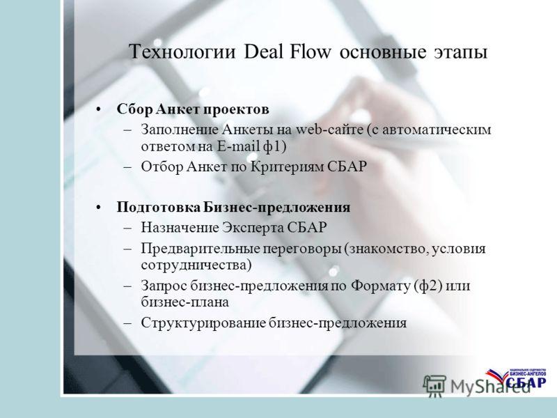 Технологии Deal Flow основные этапы Сбор Анкет проектов –Заполнение Анкеты на web-сайте (с автоматическим ответом на E-mail ф1) –Отбор Анкет по Критериям СБАР Подготовка Бизнес-предложения –Назначение Эксперта СБАР –Предварительные переговоры (знаком