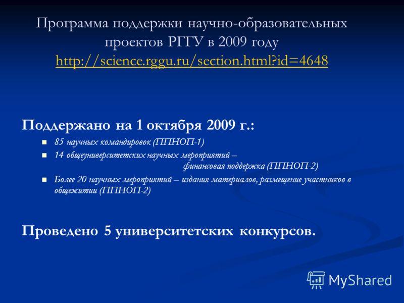 Поддержано на 1 октября 2009 г.: 85 научных командировок (ППНОП-1) 14 общеуниверситетских научных мероприятий – финансовая поддержка (ППНОП-2) Более 20 научных мероприятий – издания материалов, размещение участников в общежитии (ППНОП-2) Проведено 5
