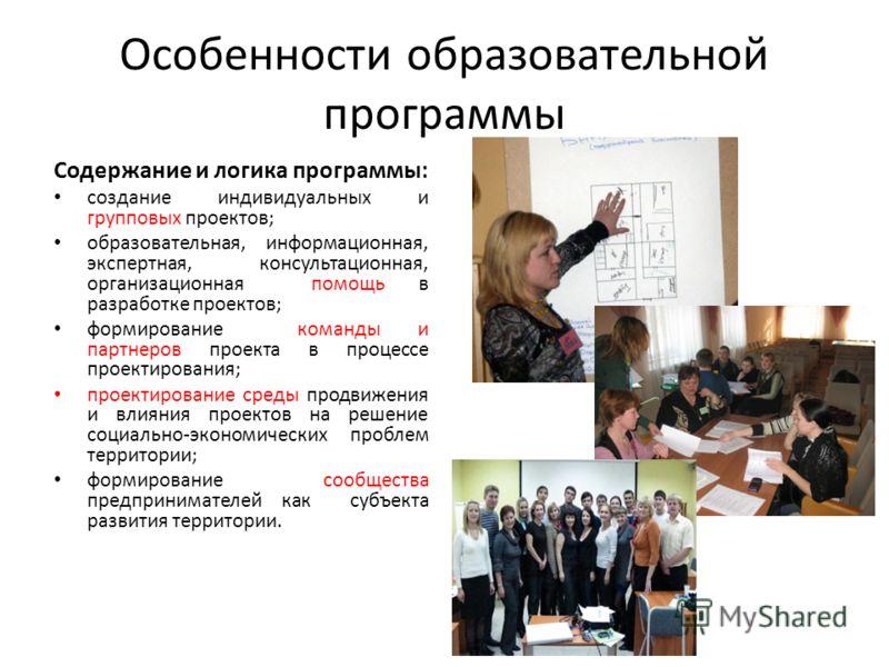Особенности образовательной программы Содержание и логика программы: создание индивидуальных и групповых проектов; образовательная, информационная, экспертная, консультационная, организационная помощь в разработке проектов; формирование команды и пар