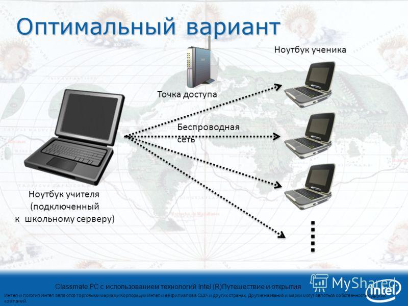 Интел и логотип Интел являются торговыми марками Корпорации Интел и её филиалов в США и других странах. Другие названия и марки могут являться собственностью других компаний. Classmate PC с использованием технологий Intel (R)Путешествие и открытия Оп