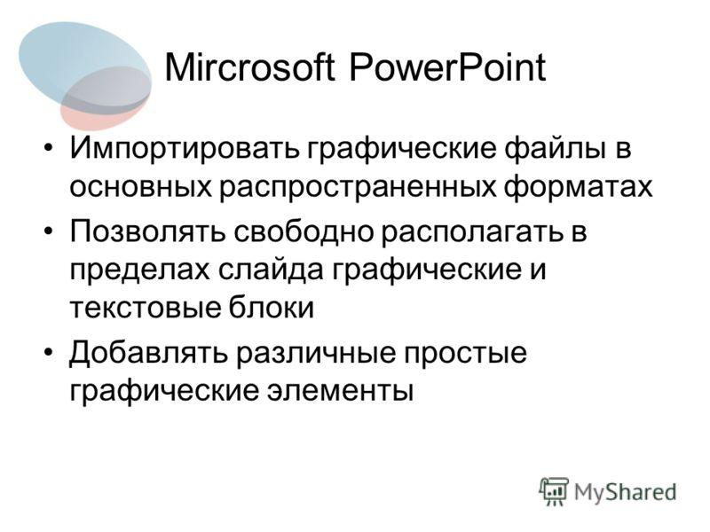 Mircrosoft PowerPoint Импортировать графические файлы в основных распространенных форматах Позволять свободно располагать в пределах слайда графические и текстовые блоки Добавлять различные простые графические элементы