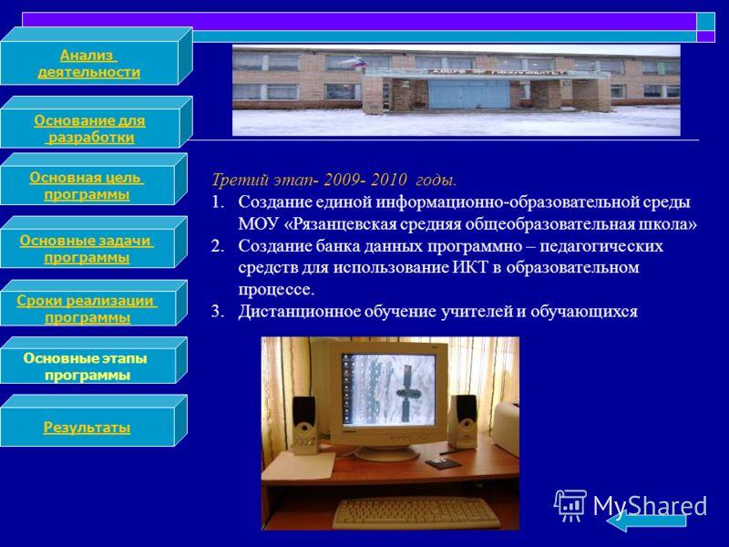 Анализ деятельности Основание для разработки Основная цель программы Основные задачи программы Сроки реализации программы Основные этапы программы Результаты Третий этап- 2009- 2010 годы. 1.Создание единой информационно-образовательной среды МОУ «Ряз