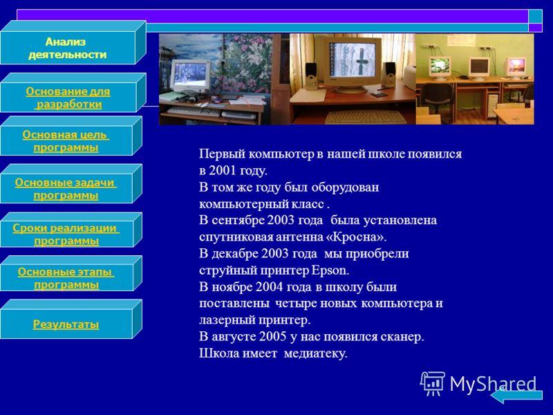 Анализ деятельности Основание для разработки Основная цель программы Основные задачи программы Сроки реализации программы Основные этапы программы Результаты Первый компьютер в нашей школе появился в 2001 году. В том же году был оборудован компьютерн