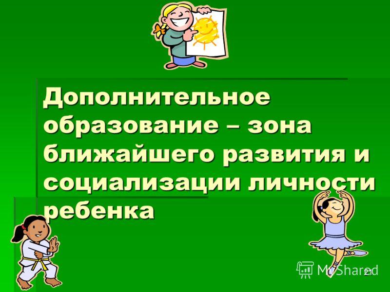 21 Дополнительное образование – зона ближайшего развития и социализации личности ребенка