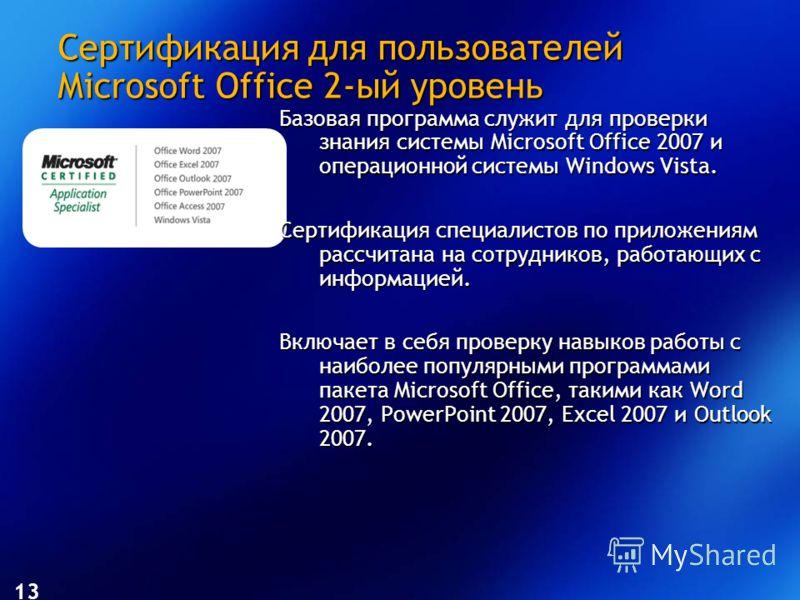 Сертификация для пользователей Microsoft Office 2-ый уровень Базовая программа служит для проверки знания системы Microsoft Office 2007 и операционной системы Windows Vista. Сертификация специалистов по приложениям рассчитана на сотрудников, работающ