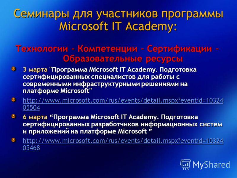 Семинары для участников программы Microsoft IT Academy: Технологии – Компетенции – Сертификации – Образовательные ресурсы 3 марта