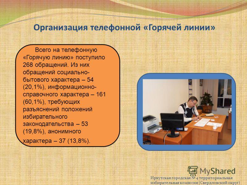 Организация телефонной «Горячей линии» Иркутская городская 4 территориальная избирательная комиссия (Свердловский округ) Всего на телефонную «Горячую линию» поступило 268 обращений. Из них обращений социально- бытового характера – 54 (20,1%), информа