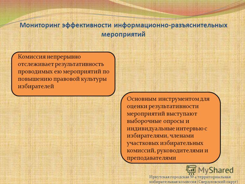 Мониторинг эффективности информационно-разъяснительных мероприятий Иркутская городская 4 территориальная избирательная комиссия (Свердловский округ) Комиссия непрерывно отслеживает результативность проводимых ею мероприятий по повышению правовой куль
