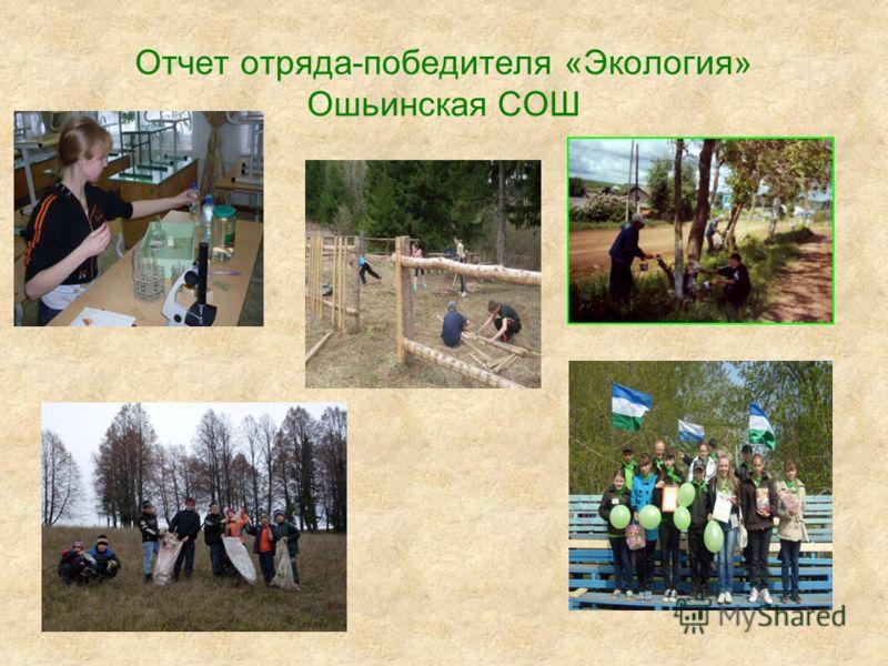 Отчет отряда-победителя «Экология» Ошьинская СОШ