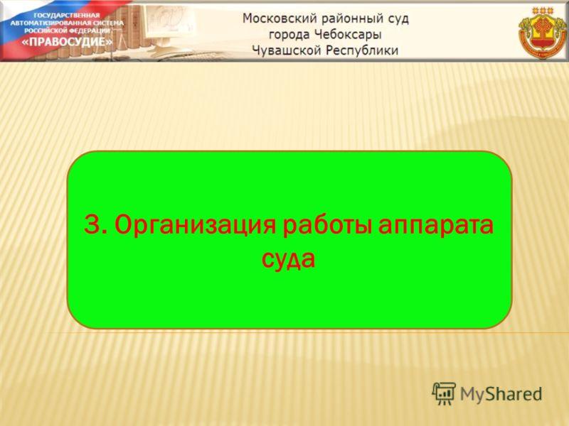 3. Организация работы аппарата суда