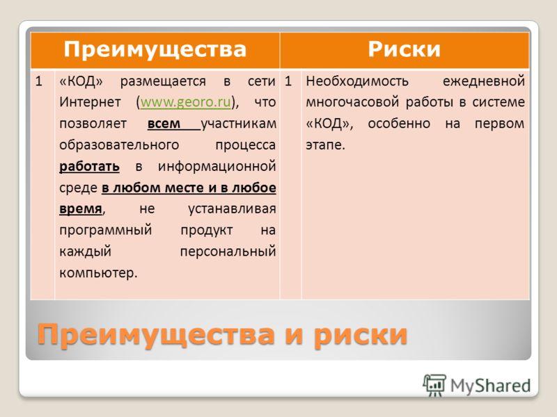 Преимущества и риски ПреимуществаРиски 1«КОД» размещается в сети Интернет (www.georo.ru), что позволяет всем участникам образовательного процесса работать в информационной среде в любом месте и в любое время, не устанавливая программный продукт на ка