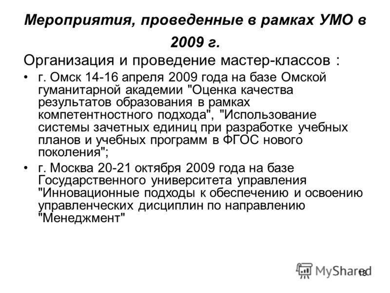 18 Мероприятия, проведенные в рамках УМО в 2009 г. Организация и проведение мастер-классов : г. Омск 14-16 апреля 2009 года на базе Омской гуманитарной академии