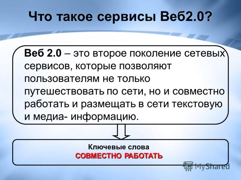 Что такое сервисы Веб2.0? Веб 2.0 – это второе поколение сетевых сервисов, которые позволяют пользователям не только путешествовать по сети, но и совместно работать и размещать в сети текстовую и медиа- информацию. Ключевые слова СОВМЕСТНО РАБОТАТЬ