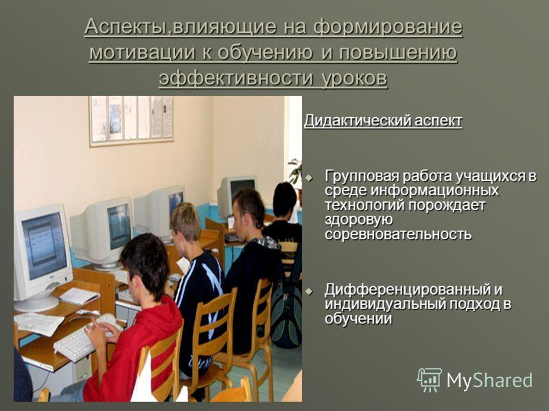 Аспекты,влияющие на формирование мотивации к обучению и повышению эффективности уроков Дидактический аспект Групповая работа учащихся в среде информационных технологий порождает здоровую соревновательность Дифференцированный и индивидуальный подход в