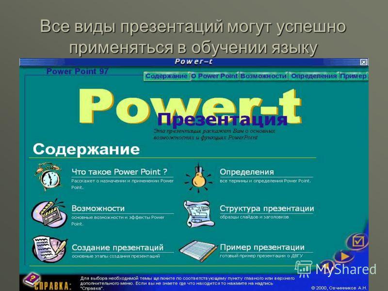 Все виды презентаций могут успешно применяться в обучении языку