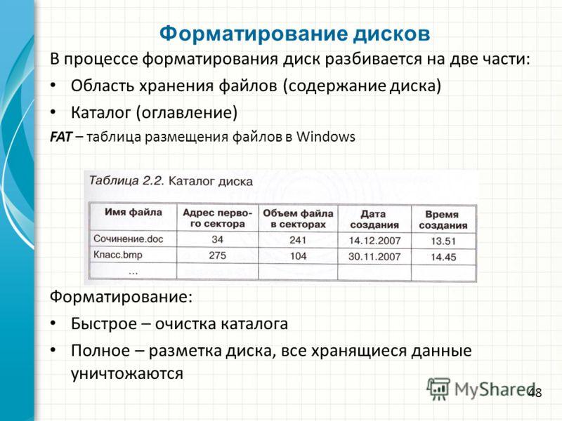 Форматирование дисков В процессе форматирования диск разбивается на две части: Область хранения файлов (содержание диска) Каталог (оглавление) FAT – таблица размещения файлов в Windows Форматирование: Быстрое – очистка каталога Полное – разметка диск