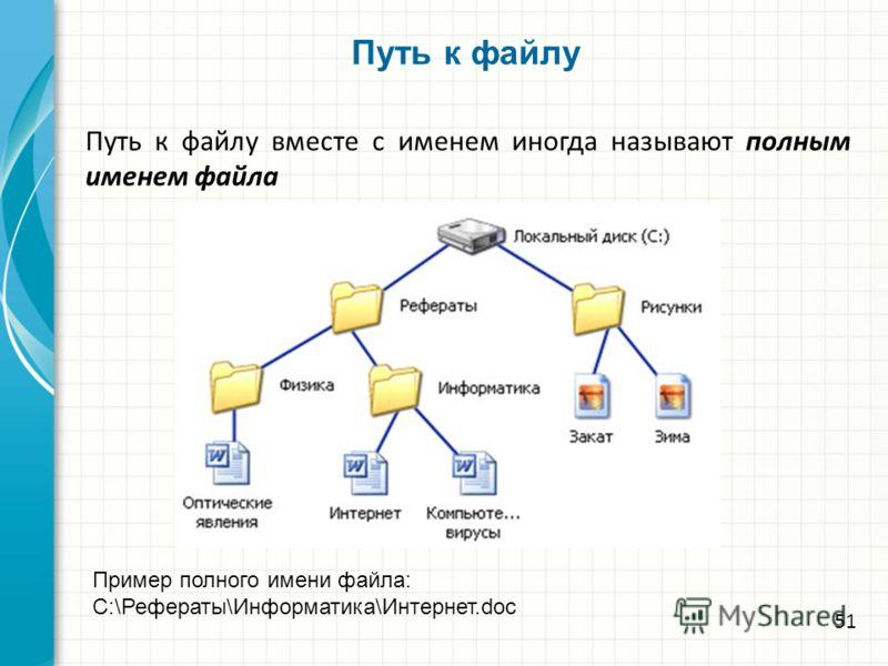 Путь к файлу Путь к файлу вместе с именем иногда называют полным именем файла Пример полного имени файла: C:\Рефераты\Информатика\Интернет.doc 51