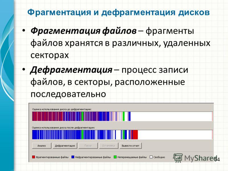 Фрагментация и дефрагментация дисков Фрагментация файлов – фрагменты файлов хранятся в различных, удаленных секторах Дефрагментация – процесс записи файлов, в секторы, расположенные последовательно 54
