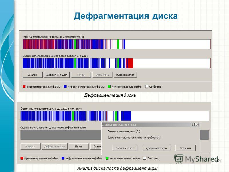Дефрагментация диска Анализ диска после дефрагментации 55
