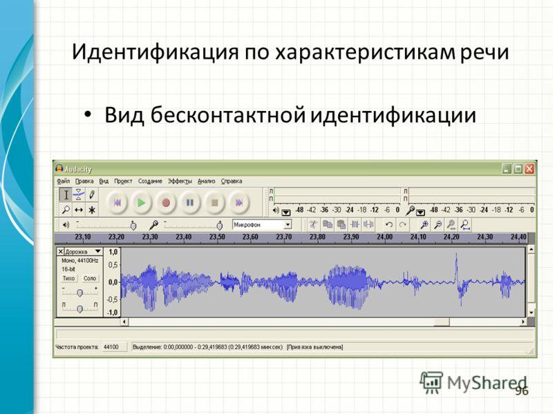 Идентификация по характеристикам речи Вид бесконтактной идентификации 96
