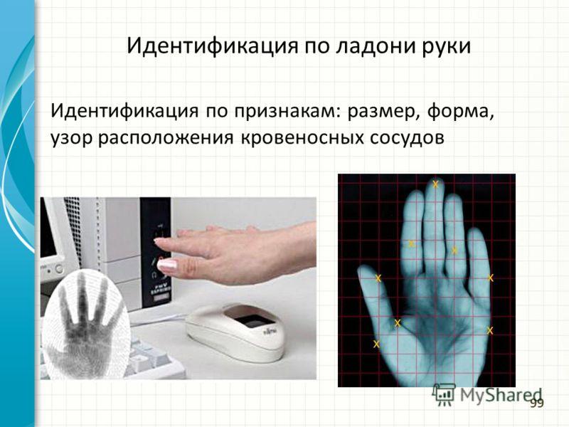 Идентификация по ладони руки Идентификация по признакам: размер, форма, узор расположения кровеносных сосудов 99