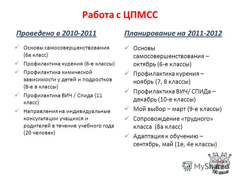 Работа с ЦПМСС Проведено в 2010-2011 Основы самосовершенствования (6а класс) Профилактика курения (6-е классы) Профилактика химической зависимости у детей и подростков (8-е в классы) Профилактика ВИЧ / Спида (11 класс) Направления на индивидуальные к