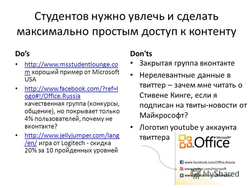 Студентов нужно увлечь и сделать максимально простым доступ к контенту Dos http://www.msstudentlounge.co m хороший пример от Microsoft USA http://www.msstudentlounge.co m http://www.facebook.com/?ref=l ogo#!/Office.Russia качественная группа (конкурс
