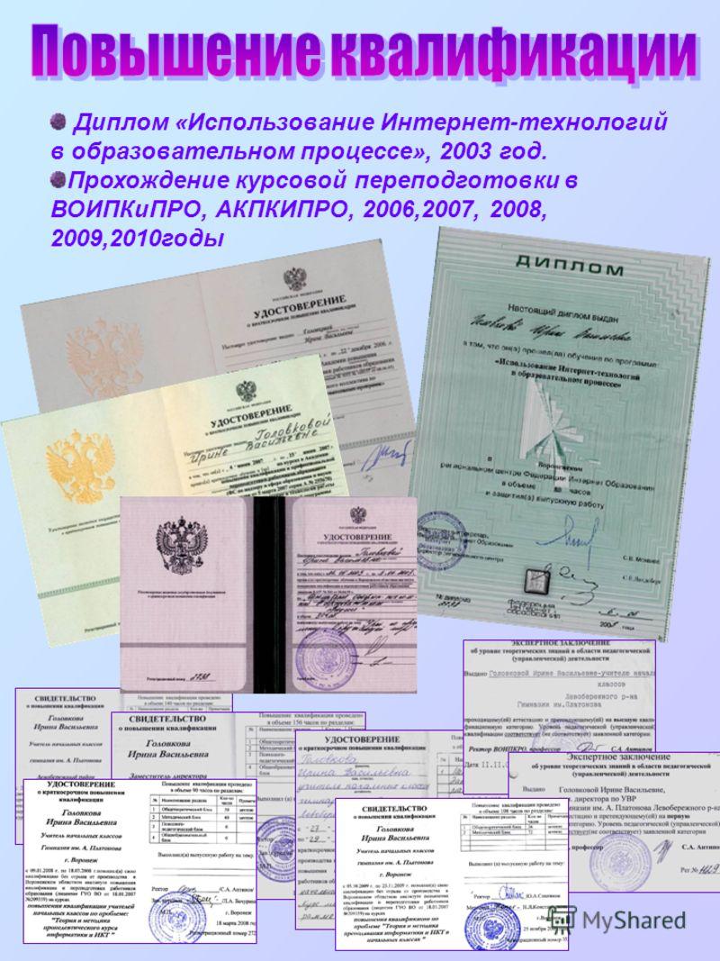 Диплом «Использование Интернет-технологий в образовательном процессе», 2003 год. Прохождение курсовой переподготовки в ВОИПКиПРО, АКПКИПРО, 2006,2007, 2008, 2009,2010годы