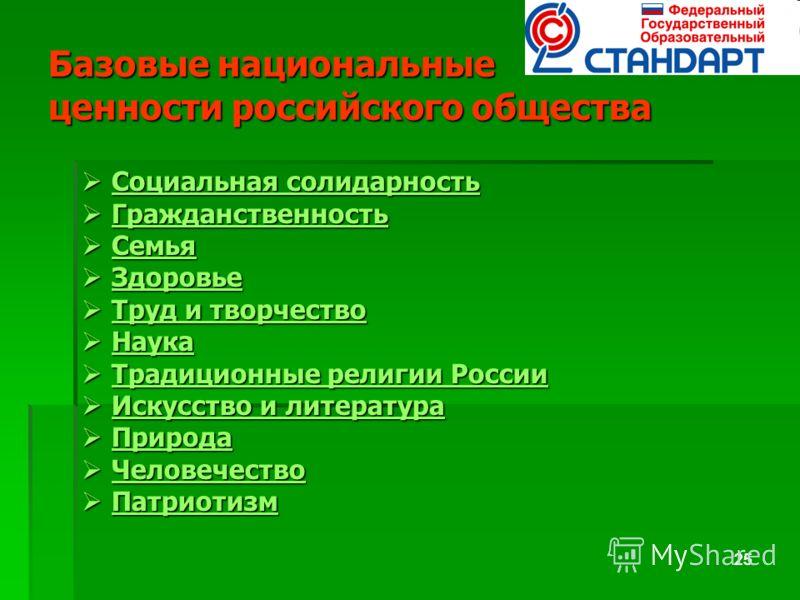 25 Базовые национальные ценности российского общества Социальная солидарность Социальная солидарность Социальная солидарность Социальная солидарность Гражданственность Гражданственность Гражданственность Семья Семья Семья Здоровье Здоровье Здоровье Т